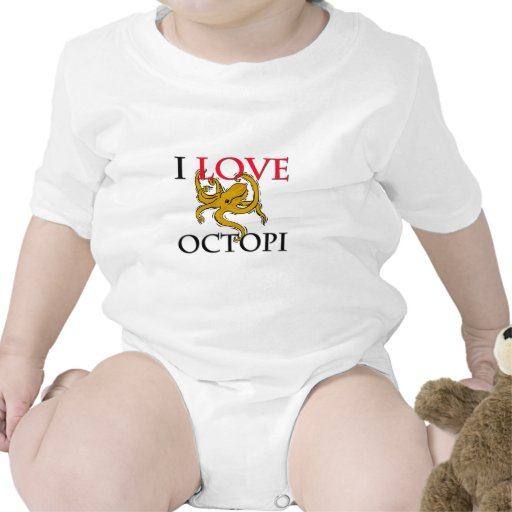 Amo los pulpos trajes de bebé
