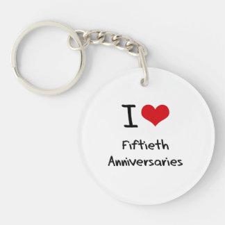 Amo los quincuagésimos aniversarios llavero redondo acrílico a doble cara