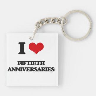 Amo los quincuagésimos aniversarios llavero cuadrado acrílico a doble cara