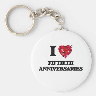Amo los quincuagésimos aniversarios llavero redondo tipo pin