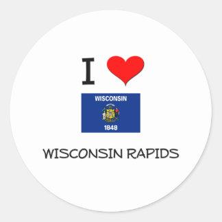 Amo los Rapids Wisconsin de Wisconsin Pegatina Redonda