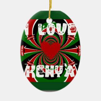 Amo los regalos de Kenia Hakuna Matata Adorno Ovalado De Cerámica