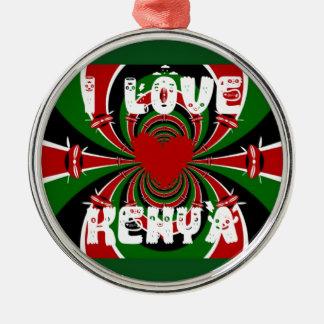 Amo los regalos de Kenia Hakuna Matata Adorno Redondo Plateado