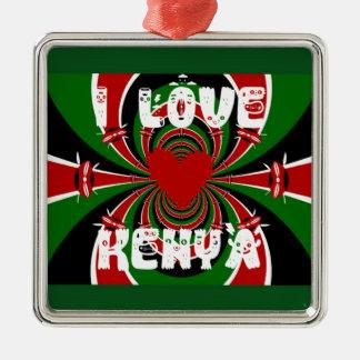 Amo los regalos de Kenia Hakuna Matata Adorno Cuadrado Plateado