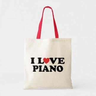 Amo los regalos de la música del piano del corazón bolsa tela barata