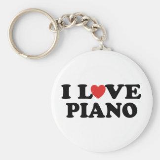 Amo los regalos de la música del piano del corazón llavero redondo tipo pin