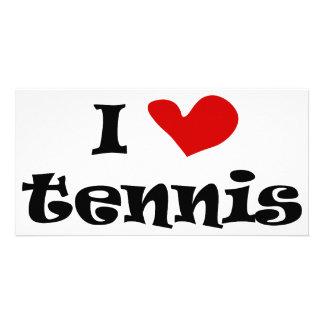Amo los regalos del tenis y las camisetas con el c tarjeta personal con foto
