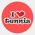 Amo los regalos del tenis y las camisetas con el pegatinas redondas