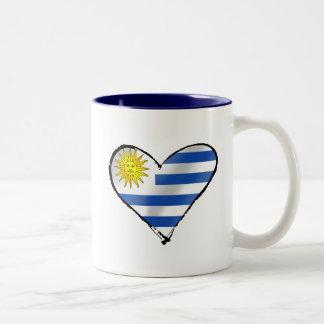 Amo los regalos uruguayos del corazón de Uruguay Taza De Dos Tonos