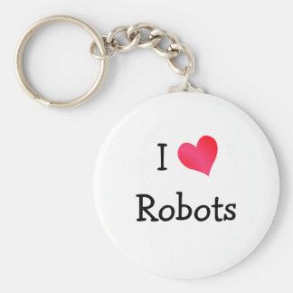 Amo los robots llavero redondo tipo pin