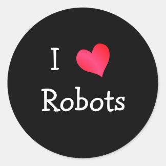 Amo los robots etiquetas redondas