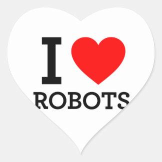 Amo los robots pegatina en forma de corazón