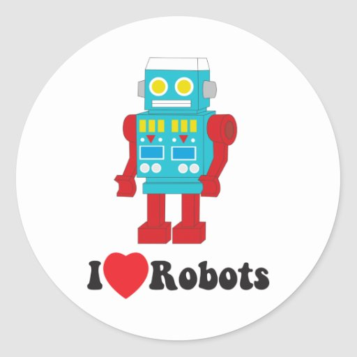 ¡Amo los robots! Pegatina Redonda