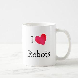 Amo los robots taza básica blanca