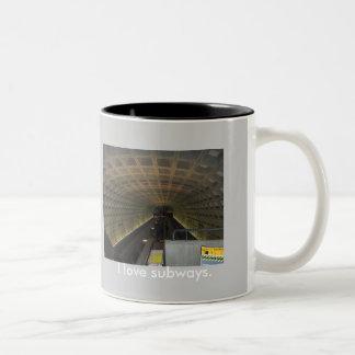Amo los subterráneos taza de café de dos colores