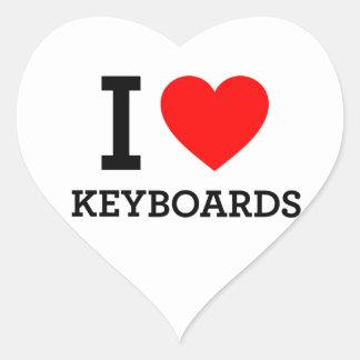 Amo los teclados pegatina en forma de corazón