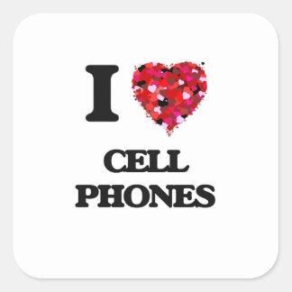 Amo los teléfonos celulares pegatina cuadrada