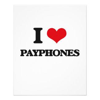 Amo los teléfonos públicos folleto 11,4 x 14,2 cm