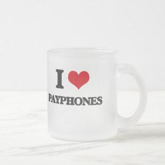 Amo los teléfonos públicos taza cristal mate