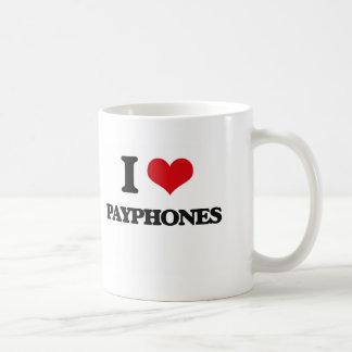 Amo los teléfonos públicos taza básica blanca
