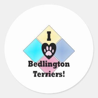 Amo los terrieres de Bedlington Pegatinas Redondas