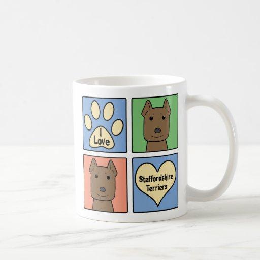 Amo los terrieres de Staffordshire Taza De Café