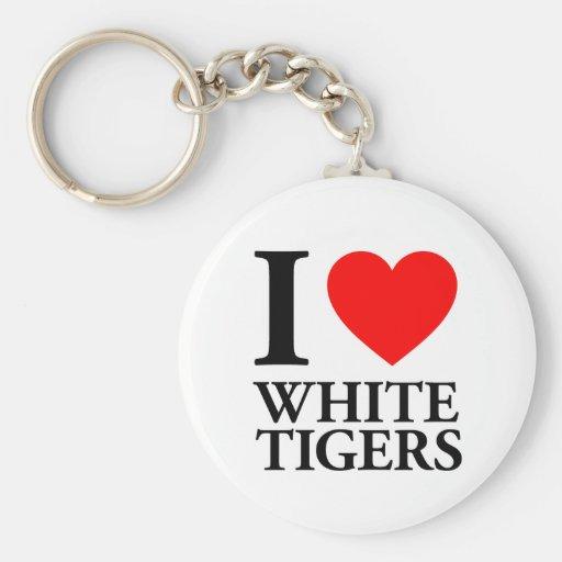 Amo los tigres blancos llavero personalizado