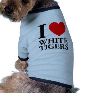 Amo los tigres blancos camiseta con mangas para perro