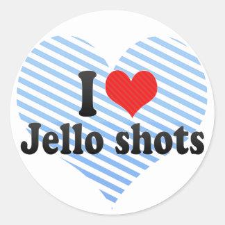 Amo los tiros de Jello Pegatina Redonda
