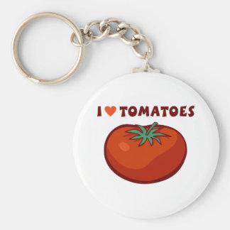 Amo los tomates llavero redondo tipo pin