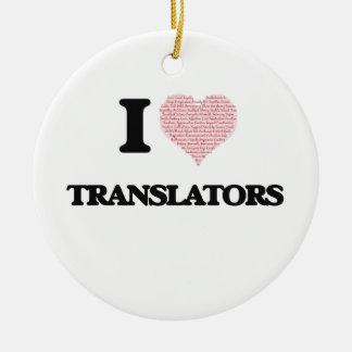 Amo los traductores (el corazón hecho de palabras) adorno navideño redondo de cerámica