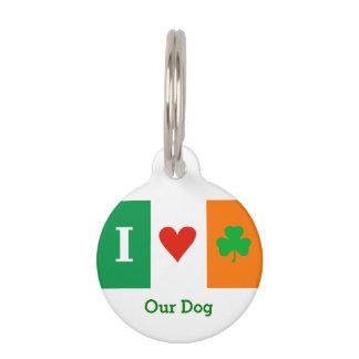 Amo los tréboles Irlanda del corazón Placa De Mascota