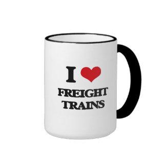 Amo los trenes de carga taza a dos colores