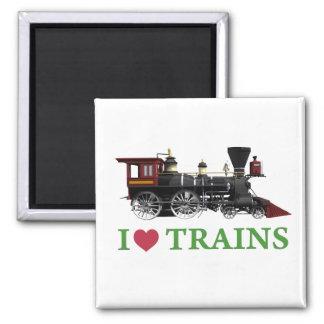 Amo los trenes imán cuadrado