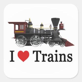 Amo los trenes pegatina cuadradas personalizadas