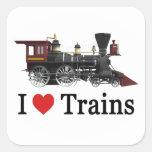 Amo los trenes pegatina cuadrada