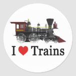 Amo los trenes pegatina redonda