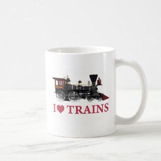 Amo los trenes taza básica blanca