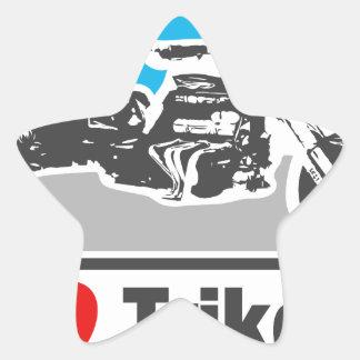 Amo los trikes - motocicletas calcomanía forma de estrella personalizada