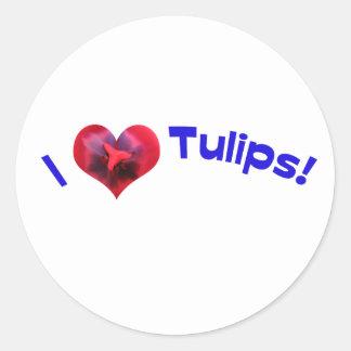 Amo los tulipanes azules etiqueta