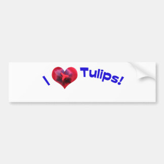 Amo los tulipanes azules pegatina para auto