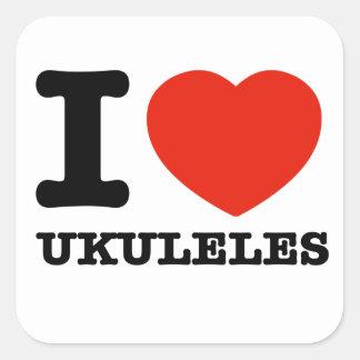 Amo los ukuleles pegatina cuadrada