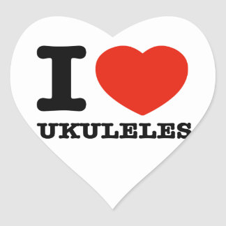 Amo los ukuleles pegatina en forma de corazón