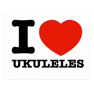 Amo los ukuleles tarjeta postal