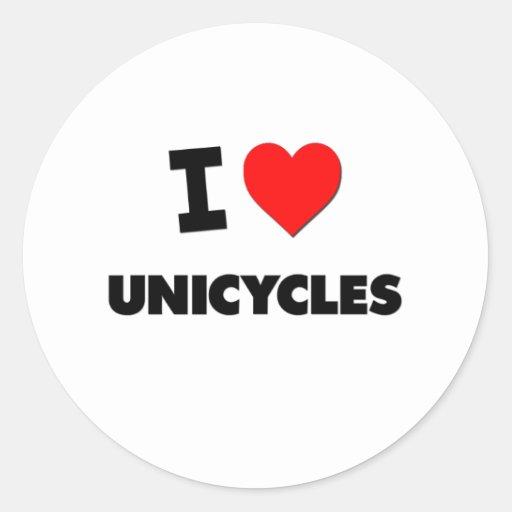 Amo los Unicycles Pegatinas Redondas