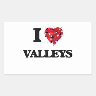 Amo los valles pegatina rectangular