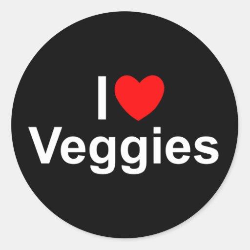 Amo los Veggies (del corazón) Pegatina Redonda