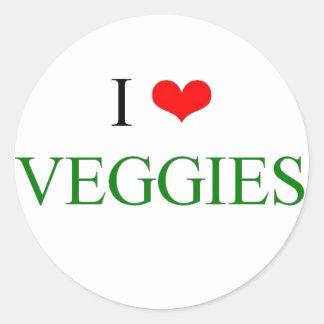 Amo los veggies pegatina redonda
