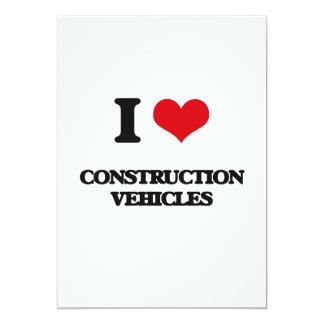 Amo los vehículos de la construcción invitacion personal