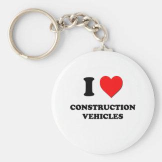 Amo los vehículos de la construcción llavero redondo tipo pin